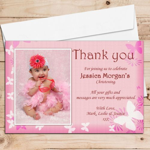 10 Personalised Butterfly Christening Birthday Thank you PHOTO Cards N67